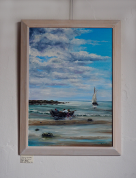 Oil painting Boat and sailboat